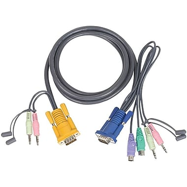Iogear® Micro-Lite™ G2L5302P Bonded All-in-One PS/2 KVM Cable, 6'(L)