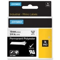 Dymo® RhinoPro 18484 0.75in.(W) Polyester Permanent Tape, Black On White