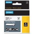 Dymo® RhinoPro 18488 0.5in.(W) Flexible Wire and Cable Label Tape, Black On White