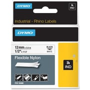 Dymo® RhinoPro 18488 0.5(W) Flexible Wire and Cable Label Tape, Black On White