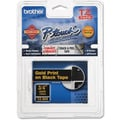 Brother® TZE 0.7in.(W) Lettering Label Tape, Gold On Black