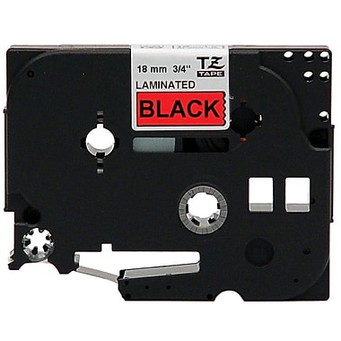 Brother® TZE Lettering Label Tape, 3/4in.(W) x 26.2'(L), Black On Red