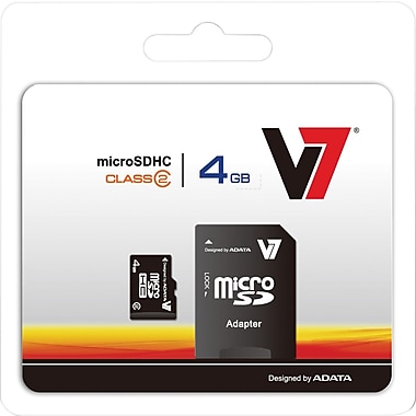 V7® VAMSDH4GCL4R-1N MicroSD High Capacity Flash Memory Card, 4GB