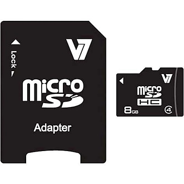 V7® VAMSDH8GCL4R-1N MicroSD High Capacity Flash Memory Card, 8GB