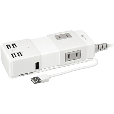 macally™ UNISTRIP Portable Power Strip With USB 2.0 Hub and Charger