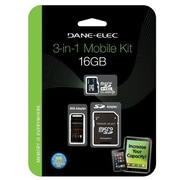 Dane-Elec DA-3IN1C1016G-R MicroSD High Capacity Flash Memory Card With Adapter, 16GB