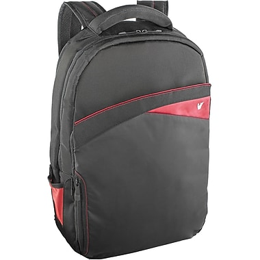 V7® CBD2-9N Edge Backpack For 17.3in. Laptops, Black/Red
