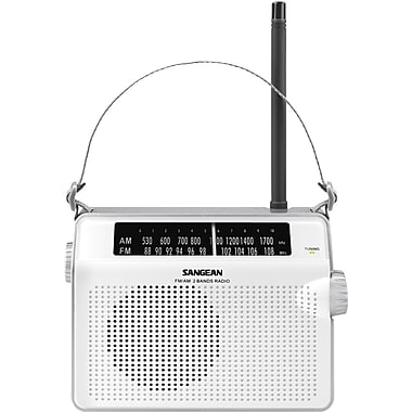 Sangean D6 FM/AM Portable Receiver, White