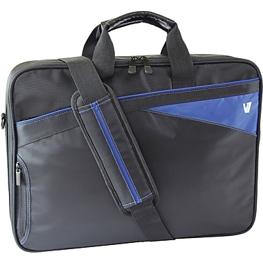 V7® CCD1-9N 16.1in. Edge Frontloader Laptop Bag, Black/Blue