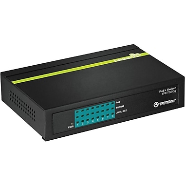 TRENDnet® Unmanaged GREENnet PoE+ Ethernet Switch, 8-Ports (TPE-TG80G)
