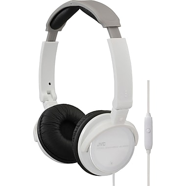 JVC HASR500 Headphone With Remote and Mic, White