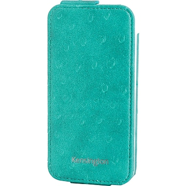 Kensington® Portafolio™ Flip Carrying Case For iPhone 5, Teal Ostrich