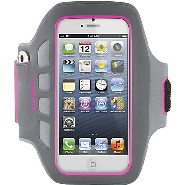 Belkin® Ease-Fit Plus Armband For iPhone 5, Gray/Pink/Day Glow