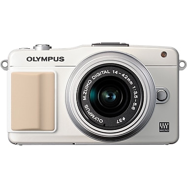 Olympus PEN E-PM2 2.5in.(H) x 4.3in.(W) x 1.3in.(D) White Mirrorless Digital Camera, 16.1 Mega Pixels
