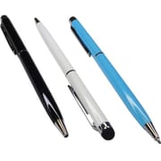 Premiertek Aluminum Touch Screen Stylus Pen, Black/White/Sky Blue
