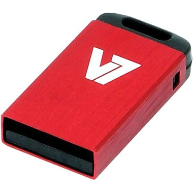 V7® VU28GCR-RED-2N Nano USB 2.0 Flash Drive, 8GB