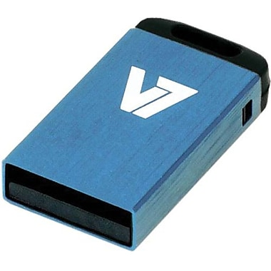 V7® VU24GCR-BLU-2N Nano USB 2.0 Flash Drive, 4GB