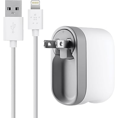 Belkin® F8J032TT04-WHT Swivel Charger With Lightning Charge Sync Cable, 5 VDC - 2.1 A