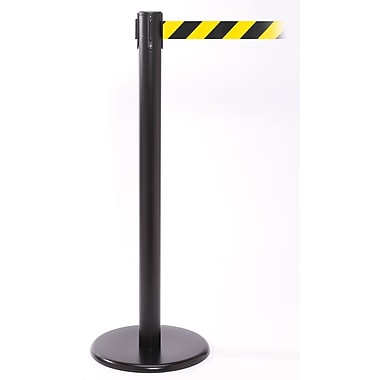 QPro 250 Black Retractable Belt Barrier with 11' Black/Yellow Belt