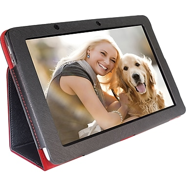 Digital Treasures 08488 Faux Leather Folio Case for Acer Tablet, Black/Red