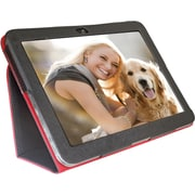 "Digital Treasures 08487 PU Leather Folio Case for 10"" Toshiba Tablet, Black/Red"