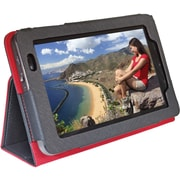 "Digital Treasures 08521 Faux Leather Folio Case for 7"" Lenovo Tablet, Black/Red"