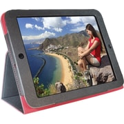 "Digital Treasures 08605 Faux Leather Folio Case for 9"" Lenovo Tablet, Black/Red"
