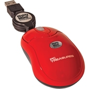 Digital Treasures 7217 USB Wired Optical Retractable Mighty Mini Mouse, Red