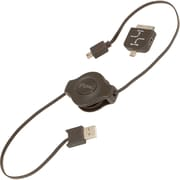 Digital Treasures iFlow 3' USB Retractable Data Transfer Cable, Black