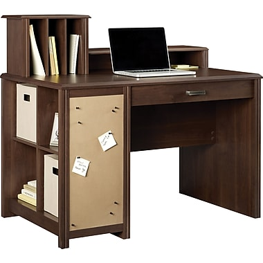 Ameriwood Carson Cube Desk w/ Low Hutch, Resort Cherry