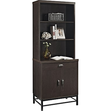 Altra Stratton Breakfront Bookcase/Cabinet, Chocolate Oak