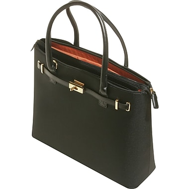 WIB Thoroughbred Textured Nylon with Leather Trim Tote, Black