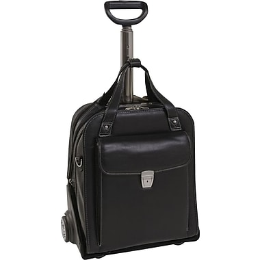 Siamod Pastenello Leather Vertical Detachable-Wheeled Laptop Case, Black