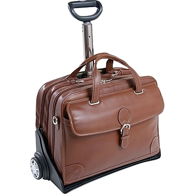Siamod Carugetto Leather Detachable-Wheeled Laptop Case, Cognac
