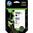 HP 950XL/951 High Yield Black and Standard C/M/Y Color Ink Cartridges (C2P01FN), Combo 4/Pack