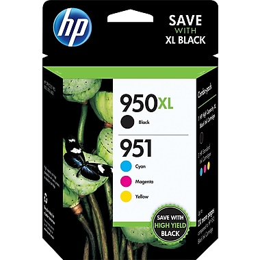 HP 950XL Black High Yield & 951 Cyan, Magenta and Yellow Original Ink Cartridges, 4/Pack (C2P01FN)
