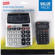 Staples® SPL-230110 8-Digit Display Calculator Value Pack, Clear