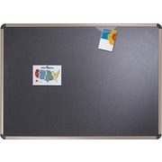 Quartet® 4' x 3' Euro™ Prestige® Black Embossed Foam Bulletin Board with Titanium Finish Frames