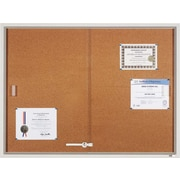Quartet® 4' x 3' Enclosed Cork Bulletin Board with Aluminum Frame and Sliding Doors