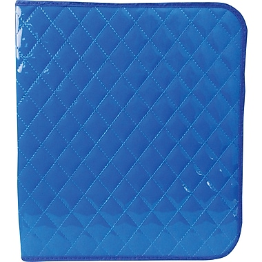 Unison Neon Blue 1 1/2in. Quilted Zipper Binder