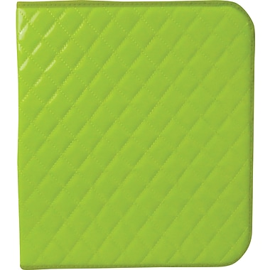 Unison Neon Lime 1 1/2in. Quilted Zipper Binder
