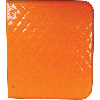 Unison Neon Orange 1 1/2in. Quilted Zipper Binder