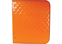 Unison® Neon Orange 1 1/2' Quilted Zipper Binder