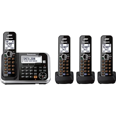 Panasonic KX-TG6844B Expandable Digital Cordless Telephone with Answering System 4 Handsets
