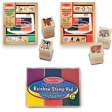Melissa & Doug Baby Zoo & Farm Animals W / 6 Color Stamp Pad Set