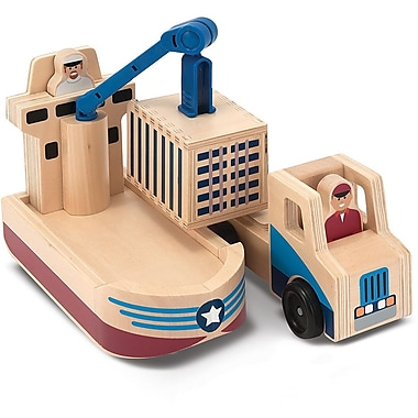 Melissa & Doug Whittle World - Cargo Ship & Truck Set