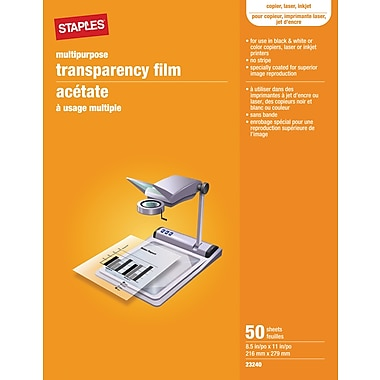 Staples 50-Pack Multi-Purpose Transparency Film for Printers
