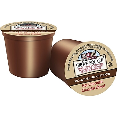 Grove Square, Rich & Dark Hot Chocolate, Single Serve Cups, 16/Pack