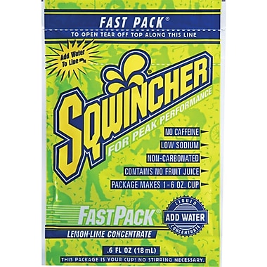 Sqwincher Fast Pack Rehydration Drink Mix, Lemon-Lime, 50/Case