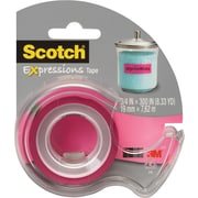 Scotch® Expressions Tape, Pink, Removable, 3/4 x 300 with Dispenser